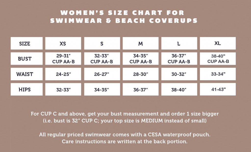 Cesa size chart summery with XL
